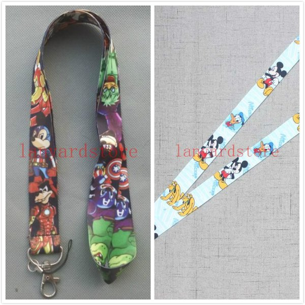 Two Newly added western animation designs Male and female mice Mixed 17colors key chain anyard neck Lanyard mobile phone Strap Lanyard