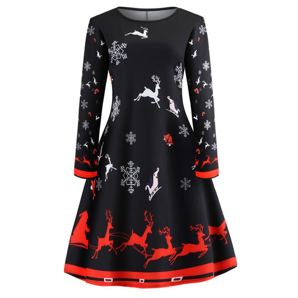 Sınır ötesi özel tedarikçi aliexpress amazon uzun kollu, yuvarlak yaka ve büyük etek ile Noel baskı elbiseleri satıyor
