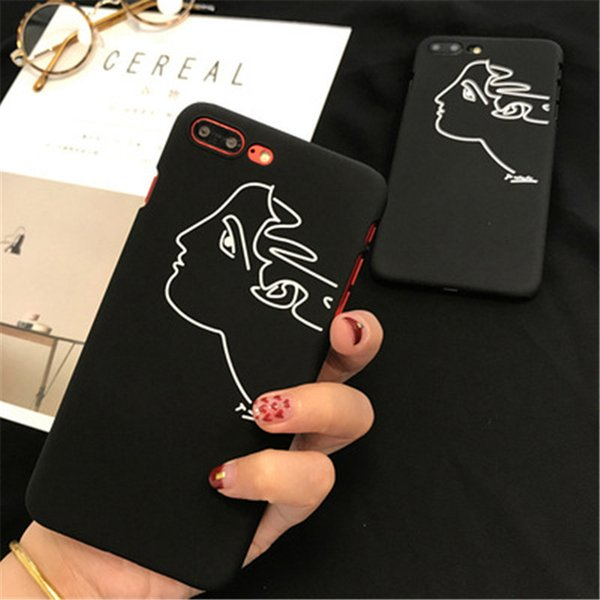 For iphone 8 mobile phone shell fashionable black simple line restoring ancient people to wear the back cover type hard shell