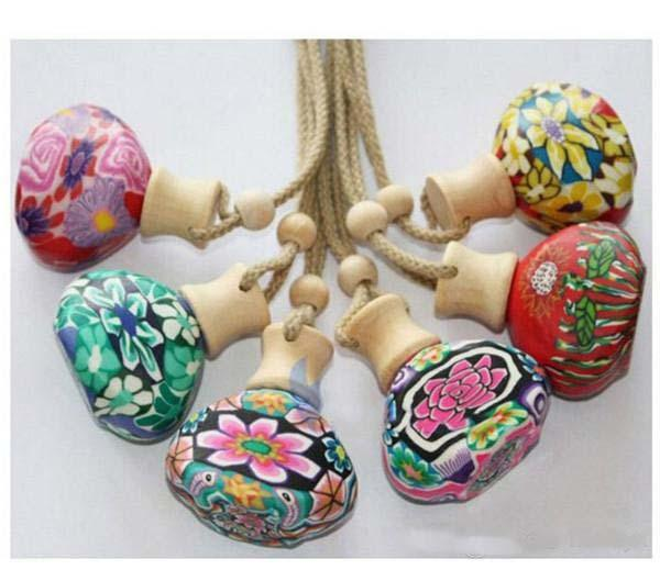 100pcs Vintage Polymer clay essence oil Perfume bottle empty bottle Car hang decoration with rope c151