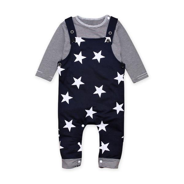 Boy T-shirt Braces Traje Ropa para niños Conjuntos Camisa de manga larga a rayas de dos piezas Pantalones con estrellas 3-24M