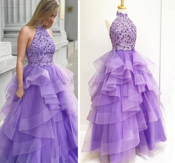 Purple Ball Gown Puffy Prom Dresses Long With Beaded 2018 High Neck Halter Lace Tulle Backless Party Dresses Teen Girls Evening Dresses