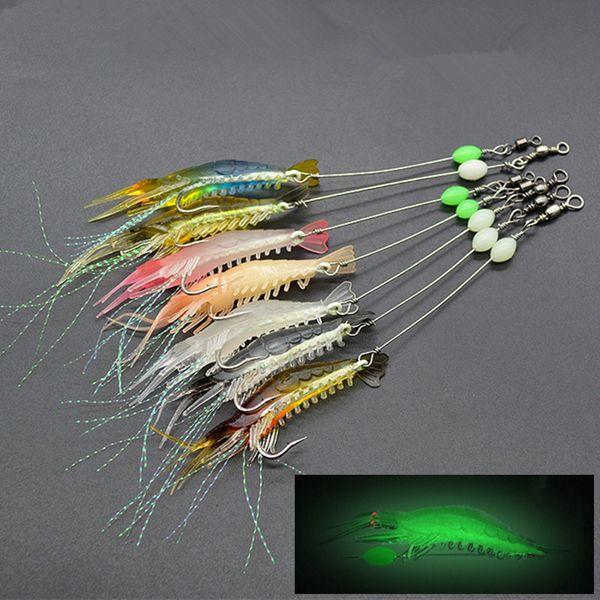 10pcs 7-color 9cm 5.5g Luminous Shrimp Hook Fishing Hooks Fishhooks Soft Baits & Lures Artificial Bait Pesca Fishing Tackle Accessories