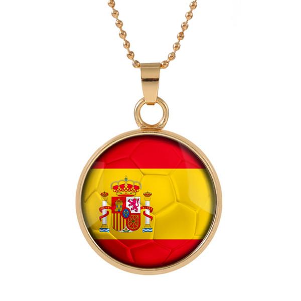 Nuovo tridimensionale Coppa del mondo 2018 Spagna Collana pendente colorato pendente in vetro Cabochon Cupola Collane gioielli Bestseller customed