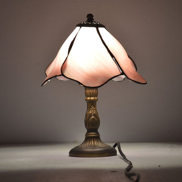 8 Inch Pink Lotus Flower Tiffany Table Lamp Country Style Stained Glass Bedside Lamp E27 110-240V