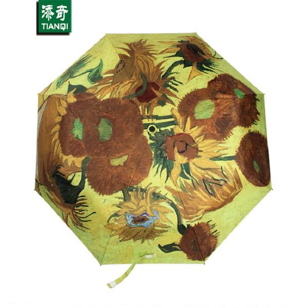 oil painting Sunflower paern sun rain Umbrella rain women 3 Folding Thickening Anti UV fashion abstract art SKU 04A1C05