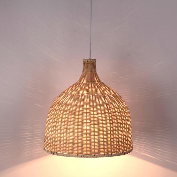 Vime de bambu Raan Shade Pingente Luzes Luminária Estilo Japonês Rústico Tatami Pendurado Luminária Luminária Sala de Jantar Mesa