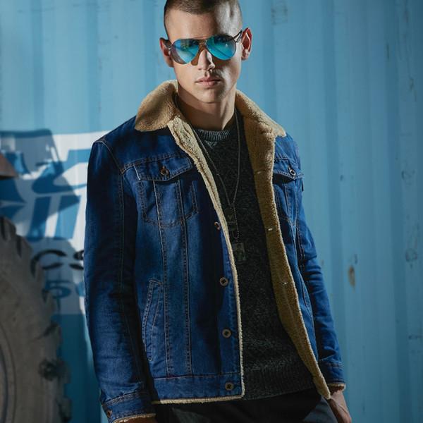 Men casual retro Denim Jacken Mantel warmen Winter Pelz Regular Fit Jeans Jacken Männer Sherpa gefüttert Trucker Denim Bomber 4xl