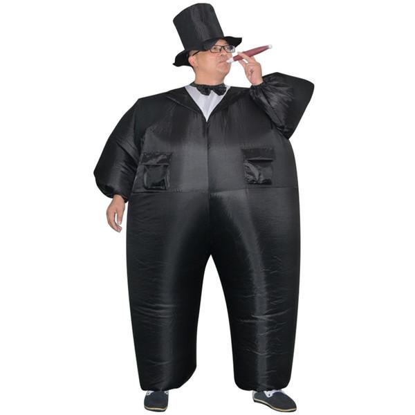 Aufblasbare Schwarz Smoking Anzug Fett Gentleman Chub Kostüm Spaß Spielzeug Halloween Karneval Cosplay Kostüme für Frauen Mann Erwachsene