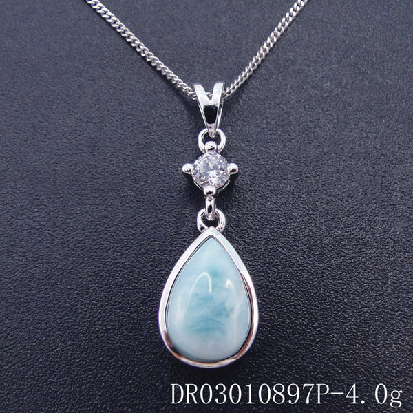 Fashion jewelry 925 silver Larimar Pendant Distribution stainless steel chain presented gift Rhodium Plated DR03010883P Free Shipping