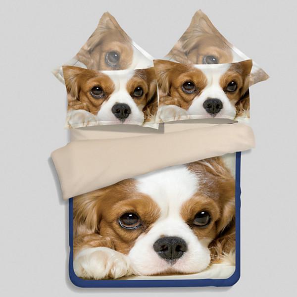 2018 new 3D dogs king/queen/Twin size 3/4pcs bedding set cartoon kids boys girls duvet cover set Elastic band sheets/Flat sheets