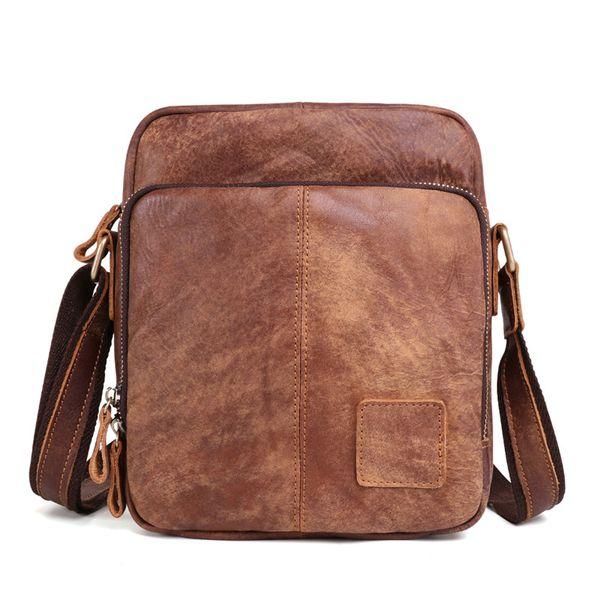 Nesitu Vintage Brown Coffee Genuine Leather Cross Body Small Men Messenger Bags For Mini ipad Real Skin Male Shoulder Bags M6423