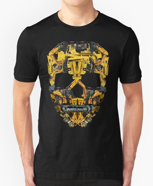 SKULL CONSTRUCTION T SHIRT HEAVY EQUIPMENT TRACTOR EXCAVATOR TRACTOR BIRTHDAY 1990'S RAP High Quality top tee