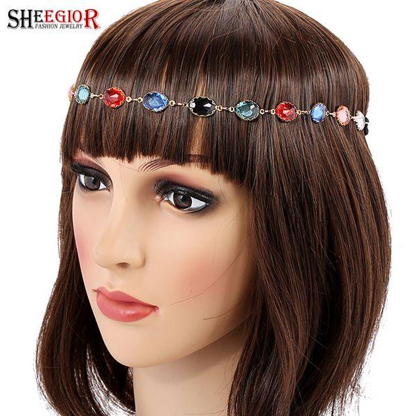 SHEEGIOR Romantische Kristall Kopfband Haarschmuck für Frauen Hairband Schöne Multicolor Strass Hochzeit Braut Haarschmuck
