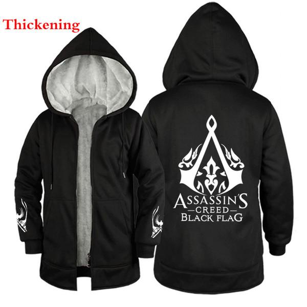 Assassino do inverno credo escuro casaco Preto com capuz hoodies homens Acolchoado casaco Assassino Engrossar Fleece Moletom Com Capuz de Inverno Zíper espessamento