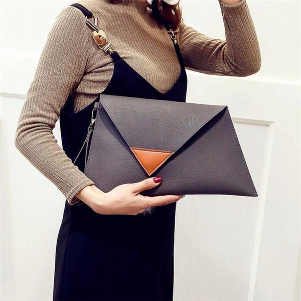 Women Leather Handbag Fashion Hit Color Patchwork Party Evening Bag Simple Retro Envelope Package Bags Ladies Tote Moden women
