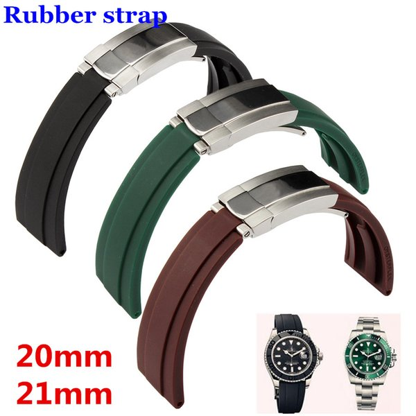 High quality Silicone Rubber Watchband Green Black Strap with Silver Oyster Buckle 20mm 21mm for RX watch Free Shipping Men