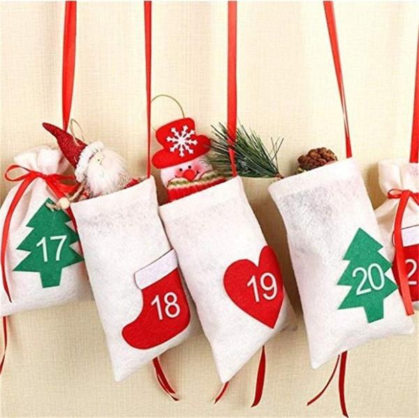 Tende da appendere all'aperto Pocket Bundle Decorazioni di Natale 24pcs Mini borsa di stoffa di Natale Xmas Tree Ornaments Regali di Capodanno rosso 1 9cj hh