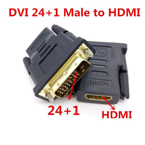 DHL ücretsiz nakliye. HDMI Kablo Masaüstü 1000 adet / grup DVI 24 + 1 Erkek hdmi 19Pin Kadın M-F Adaptörü Dönüştürücü HDTV için