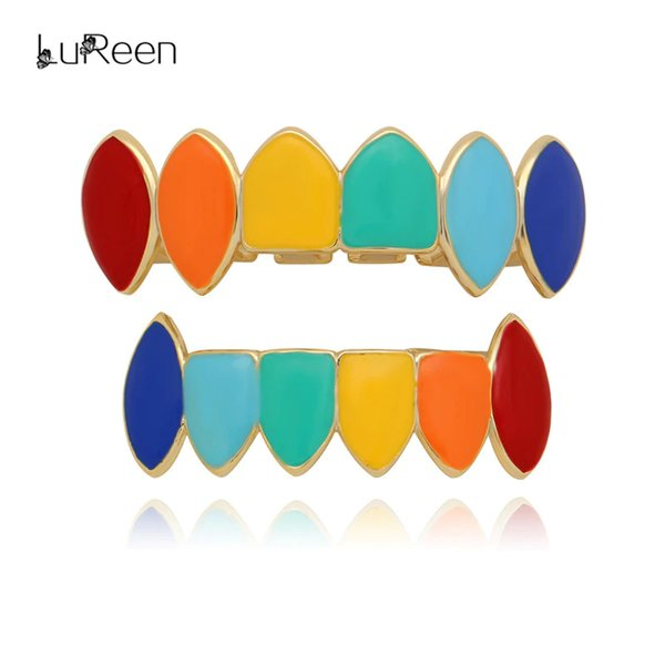 LuReen Hip Hop Gold Teeth Grillz Top&Bottom Colorful Grills Dental Halloween Vampire Teeth Cap Fashion Body Jewelry Party LD0174