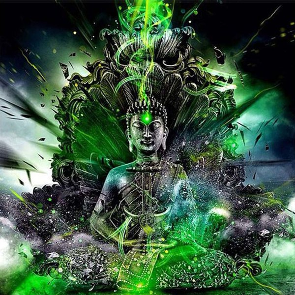 Buddha Green Full Drill DIY Mosaic Needlework Diamond Painting Embroidery Cross Stitch Craft Kit Wall Home Hanging Decor
