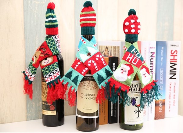 Christmas Decorations For Home Santa Claus Wine Bottle Cover Clothes Set Hat Cap Scarf Table Decor 2019 Navidad New Year Gifts B0002