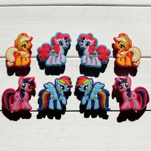 100pcs My Horses Lovely Summer Accessory Cartoon PVC Shoe Buckle Shoe Charm Fit Croc Shoes&Wristbands Accessories Kid Gift Party Favors