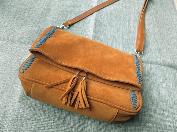 74e14ce8198d4 2018 neue Frauen echtes Leder Taschen Vintage Wildleder Quaste kleine Hippie  Nubukleder Crossbody Tasche Sac ein