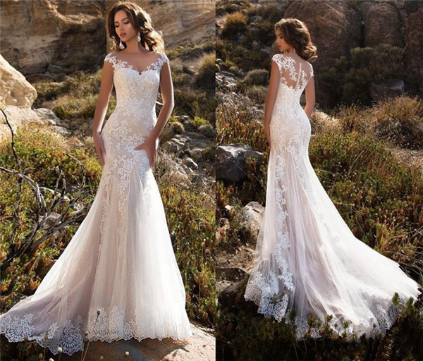 Sheer Neck Mermaid Lace Wedding Dresses with Cap Sleeves Appliqued Court Train Western Style Bridal Gowns