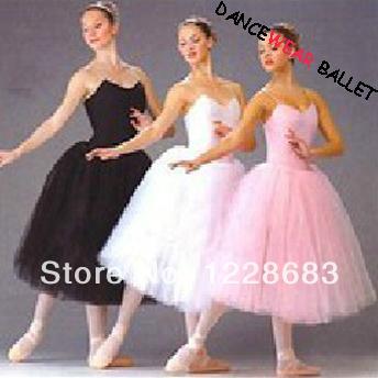 Tule Ballet Saias Tutu Vestido de Ballet Lyrical Dança Saia Rosa Preto Branco Swan Lake Costume