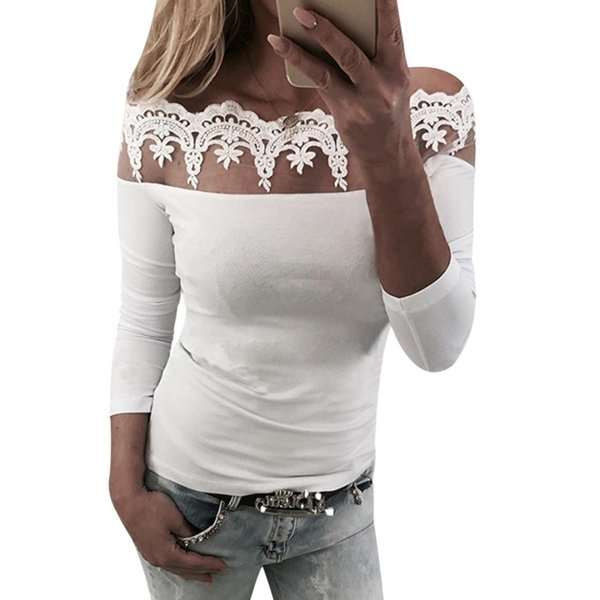 Off Shoulder Lace Patchwork Women Tops 2018 Summer Sexy Ladies Long Sleeved White Blouse Cotton Shirts Chemisier Femme