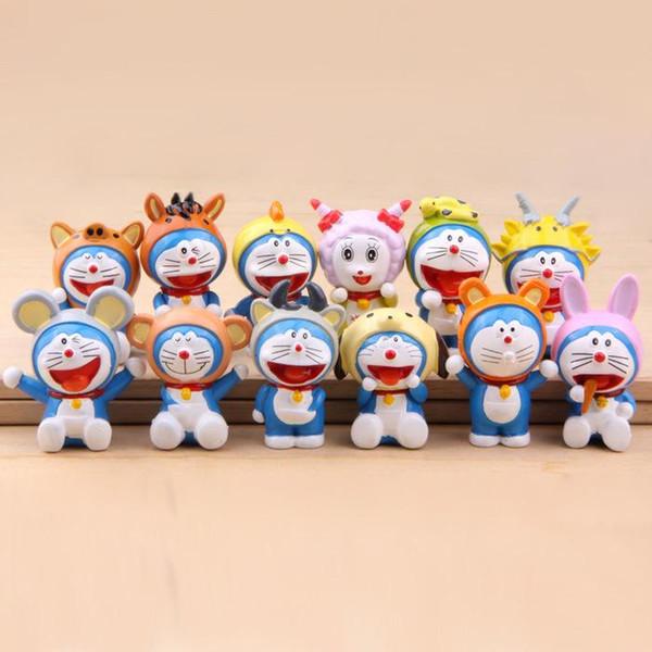 12 pezzi / set Anime Doraemon Zodiaco cinese Animali modello PVC Action Figure Giocattoli Bambole da collezione per regalo per bambini