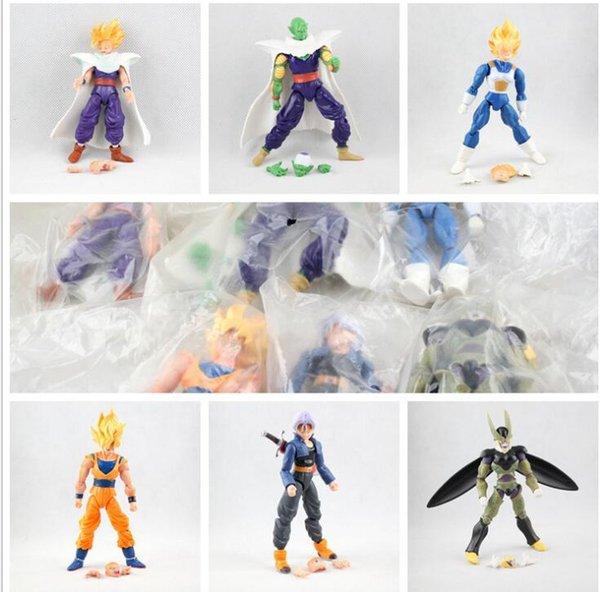 6pcs 1set Dragon ball Z Dragon ball DBZ Goku Piccolo Action Figure Toy Set Anime 16cm Joint Action Figure Toy KKA5774