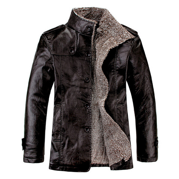 best selling Men Leather jacket 2015 New Fashion Leisure Autumn Winter PU In the Long Section Stand Collar Coat Black Brown Leather Jacket