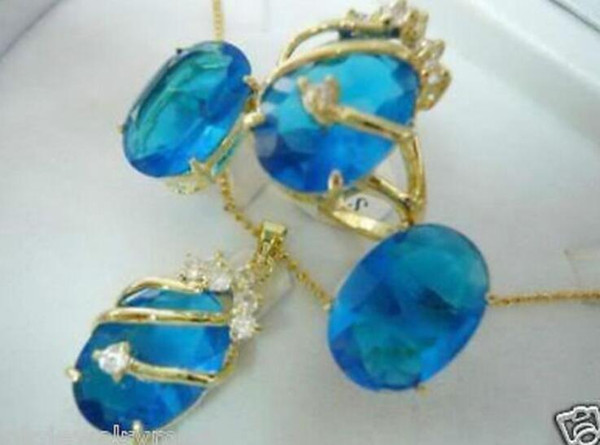 New Jewelry Blue stone pendant necklace earring ring set Natural jewelry