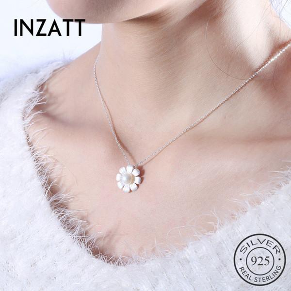 INZATT Elegante fiore perla pendente collana girocollo autentici gioielli in argento sterling 925 per le donne accessori carino regalo