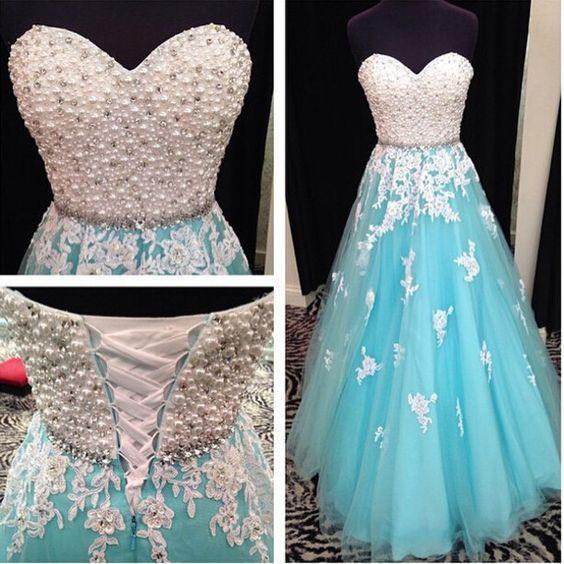 2018 Aqua And White Prom Dresses Sweetheart Beaded Pearls A-line Tulle Appliques Lace Corset Lace Up Special Occasion Evening Party Gown