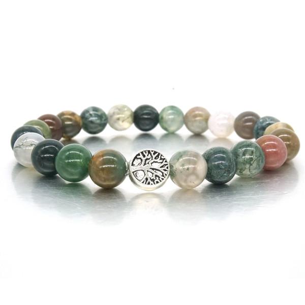 Árvore de Prata Do Vintage da Vida Encantos Pulseira Natural India Ágata Pedra Beads Pulseira para Mulheres Dos Homens Estiramento Yoga Jóias