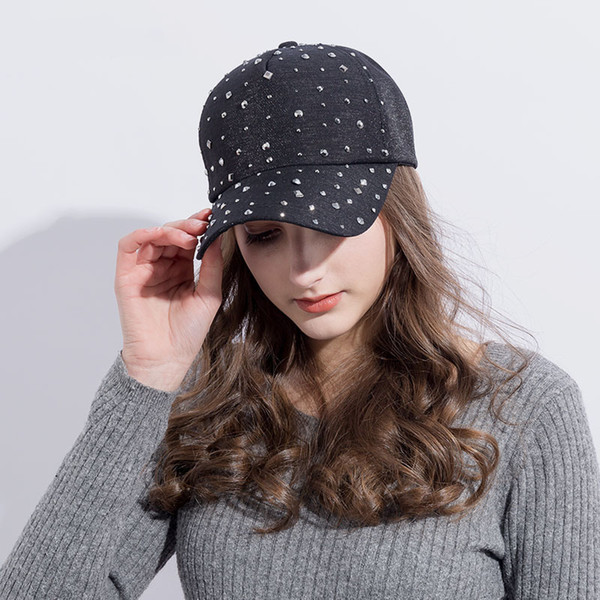 Fashion Women S Rhinestone Hats Diamond Sun Cap Swag Casquette Snap Back Gorras Solid Color Summer Baseball Caps Dad Girl Bones Cute Beanies Red