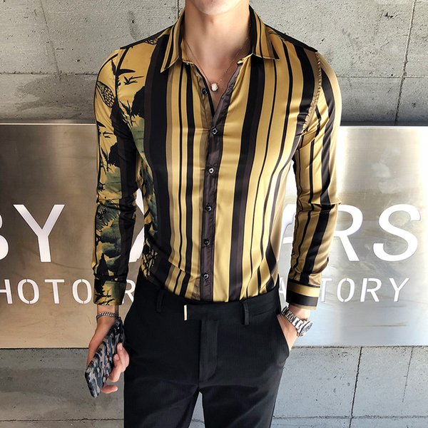 Men's Contrast Vertical Striped Dress Shirts Gold Striped print Cotton Long Sleeve Slim-fit Smart Casual Button-down Shirt