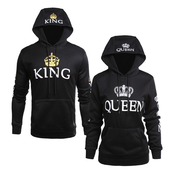 top popular Wholesale new style men and women casual jacket QUEEN KING printing hooded long-sleeved lovers sweater hoodies 2020