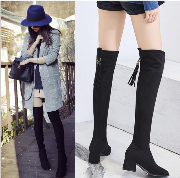 2018 New Flock Leather Women Over The Knee Boots Lace Up Sexy High Heels Women Shoes Lace Up Winter Boots Warm Size 35- 39