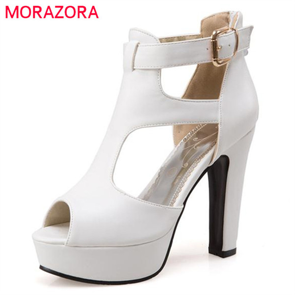 MORAZORA Large size 34-48 women sandals wedding shoes peep toe buckle platform  shoe fashion eleagnt summer solid high heels on sale d857d8a5183d