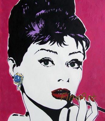 Main peinture à l'huile sur toile décorative audrey hepburn peinture peinture à l'huile photo murale pop art femme peinture à l'huile décoration de la maison mur art
