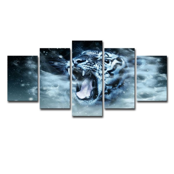 Art HD Prints Posters Framework 5 Pieces White Tiger Paintings Abstract Animals Pictures Home Decor For Living Room