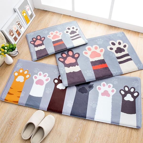 MDCT Cute Cat Printed Area Tappeti Tappeto Soft Fleece Fabric Bambini arrampicata Play Mats Tappeti per soggiorno Cucina Bagno