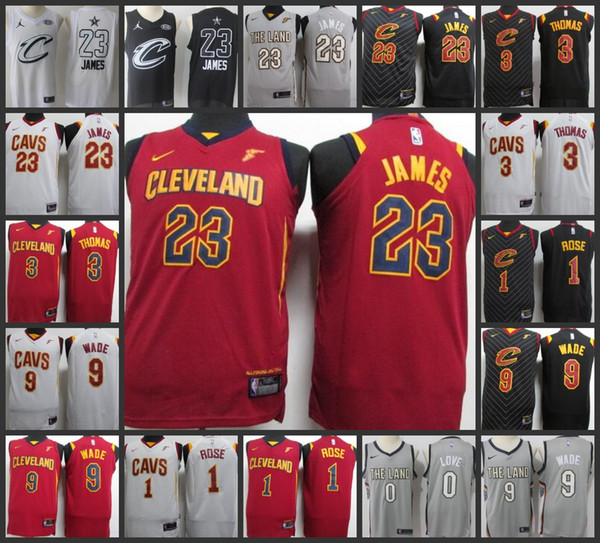 finest selection 69d0f 1d595 2018 2017 18 New Season Cleveland Men Cavaliers Jerseys #23 LeBron James 1  Derrick Rose 3 Isaiah Thomas 9 Dwyane Wade 100% Stitched Jersey From ...