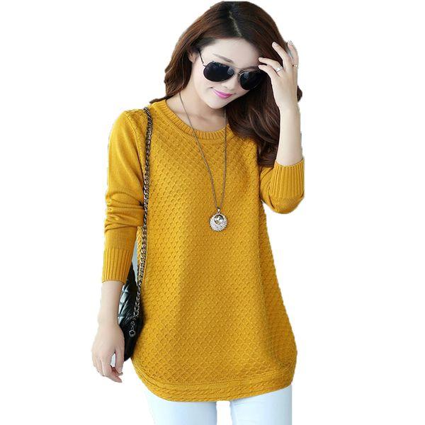 Pull Sweater Women Medium Long Casual Plus Size Pullover in maglia Feminino EleFemale Maglia manica lunga primavera autunno maglioni