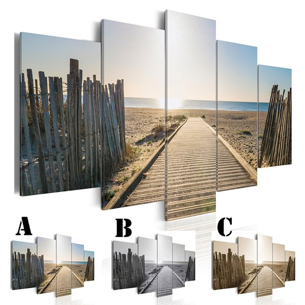 5pcs/set Wall Art Picture Printed Oil Painting on Canvas No Frame Home Decor Wood Road to the Seaside