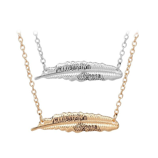 La moda de las nuevas mujeres Wingardium Leviosa collar de plumas colgantes Lady Vintage deja la joyería de oro plata ropa ornamento de alta calidad 2 1xf a